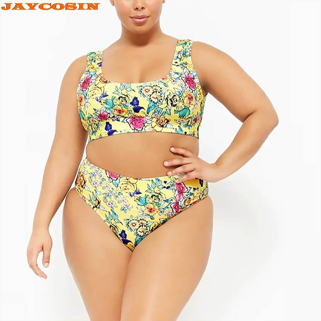 JAYCOSIN Sexy Women Plus Size Print Striped Sets Swim Fashion Beach Wear Bathing Suits Female Swimwear Women Two-Piece 2019 New