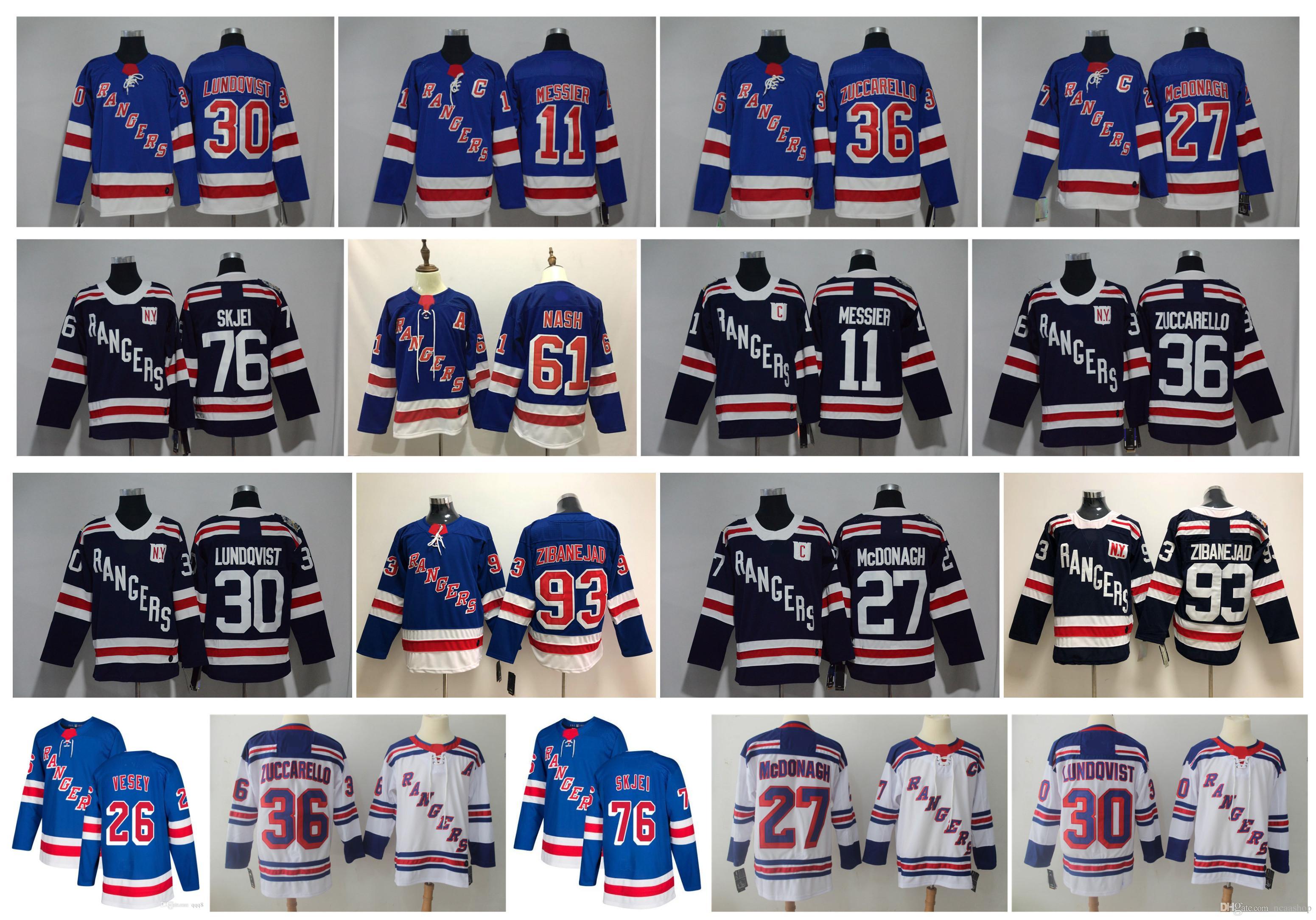 2019 NHL NY New York Rangers Jersey Henrik Lundqvist 36 Mats Zuccarello 76  Brady Skjei 93 Mika Zibanejad Rick Nash Ryan McDonagh Messier Hockey From  ... 8efd2249f