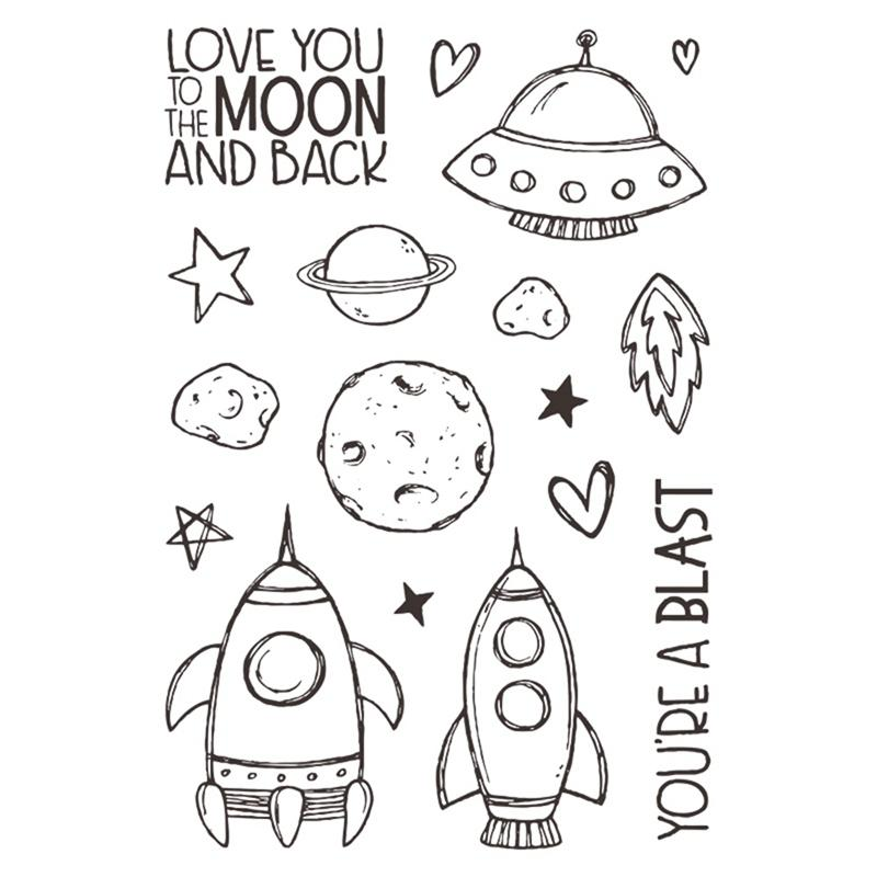 1pcs 11*16cm New Creative UFO Alphabet Clear Stamps For Scrapbooking Card  Album Silicone Transparent Stamp Stationery Set