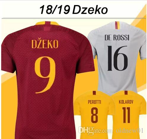 857c4c04144 2018 19 DZEKO Soccer Shirts DE ROSSI PEROTTI Mens Home Away 3rd ...