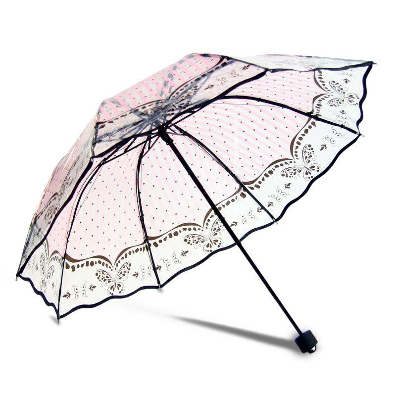 picture relating to Umbrella Pattern Printable named ink print clear 8K ladies desirable flower/erfly/deer behavior folding umbrella non automated for lady YS028 Red print transpar