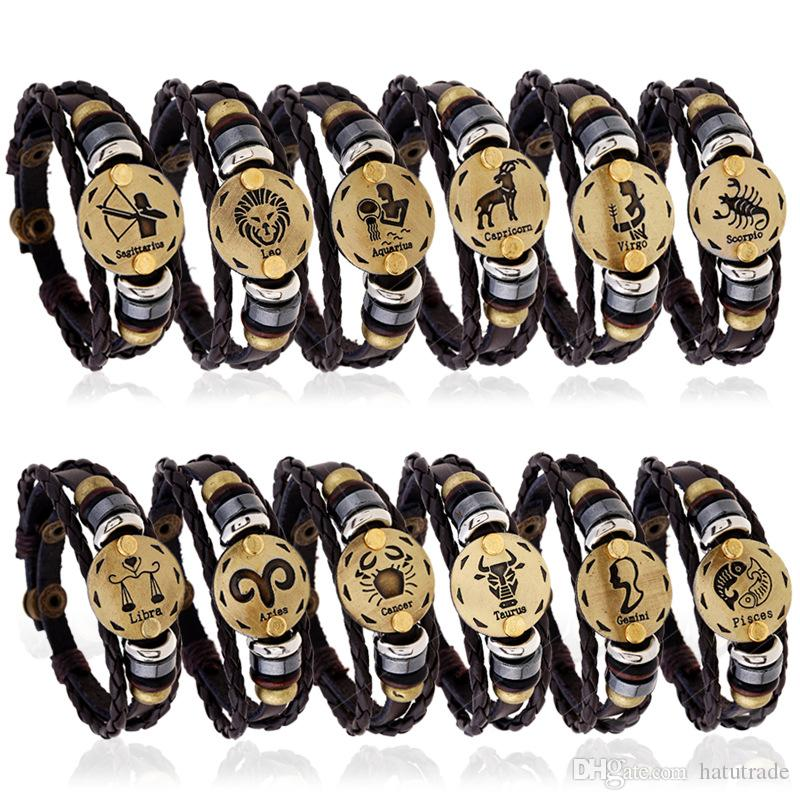 Großhandel Horoskop Sternzeichen Geschenk Männer Armband Schmuck 12