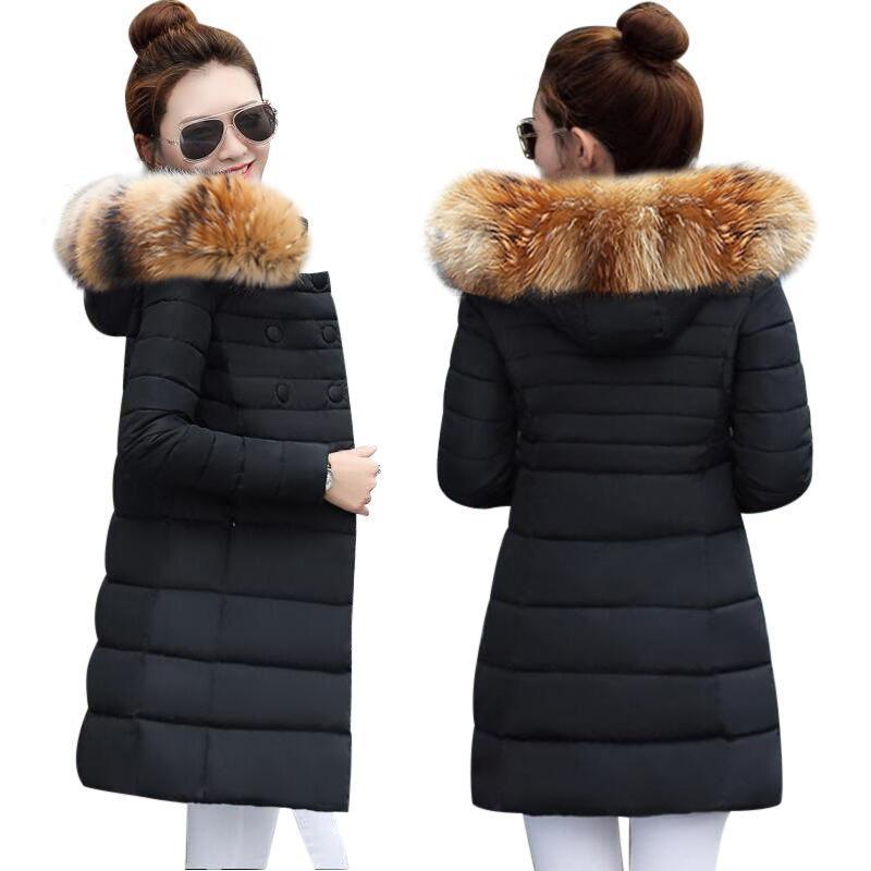 ca2713265 Winter Jacket Women 2018 Middle Long Cotton-padded Jackets Big Fur Hooded  Collar Parkas Thicken Warm Winter Coat Female Parkas