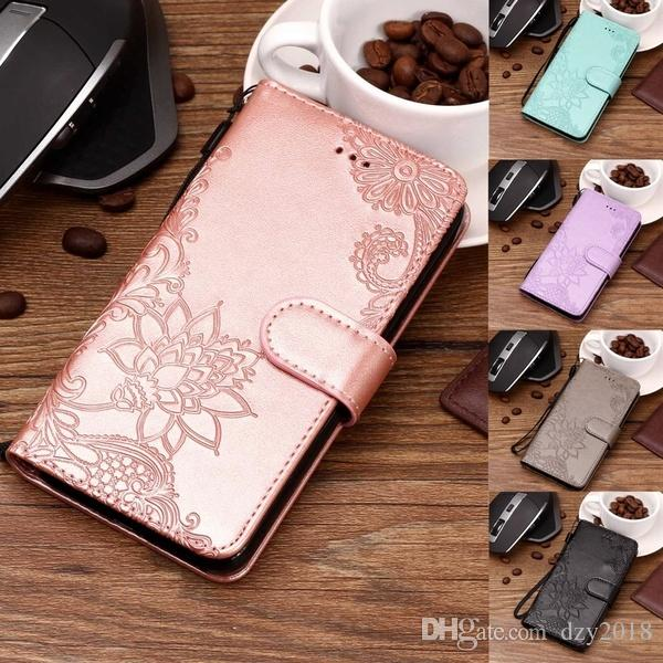 Embossing Lace Flip Wallet Case Folio PU Leather Phone Cover with ID&Credit Card Pockets For iPhone X 8 8 Plus 7 7 Plus 6 6S