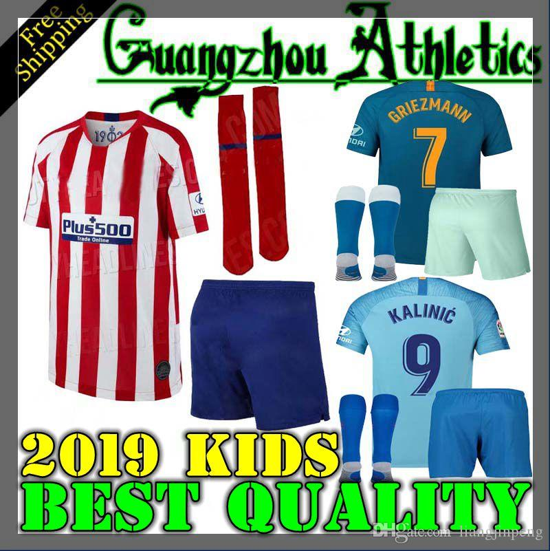 208b84f5f 2019 2019 Madrid Kids Kit GRIEZMANN Madrid Home Soccer Jersey KOKE Soccer  Shirt Customized SAUL DIEGO COSTA 19 20 Atletico Boy Short Football From ...