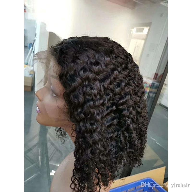 Malaysian Virgin Hair Human Hair Lace Front Wigs Bob Wig Deep Wave Kinky Curly Natural Color Bob Lace Front Wig