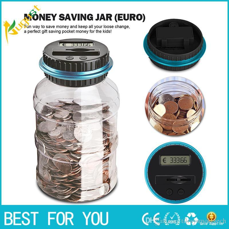 Hot Sale 018 1.8L Piggy Bank Counter Coin Electronic Digital LCD Counting Coin Money Saving Box Jar Coins Storage Box For USD EURO GBP Money