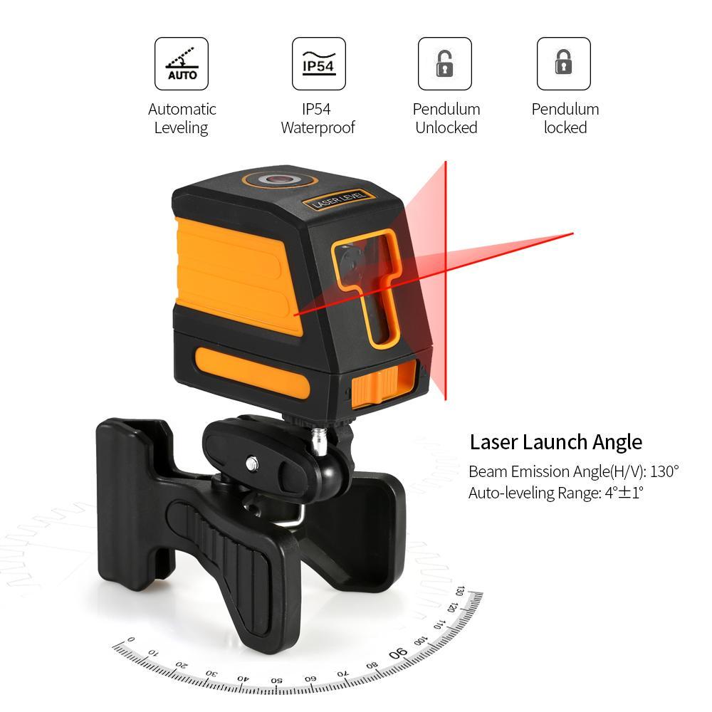Self-Leveling 2 Selectable Lines Red Laser Level Professional Horizontal Cross Line Leveling Laser Level Kit