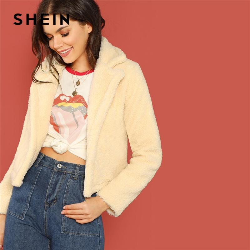 674c6bcc61 SHEIN Apricot Notch Collar Open Front Teddy Jacket Casual Fashion Solid  Short Coat 2018 Winter Women Minimalist Coats Outerwear Black Jackets  Leather Bomber ...