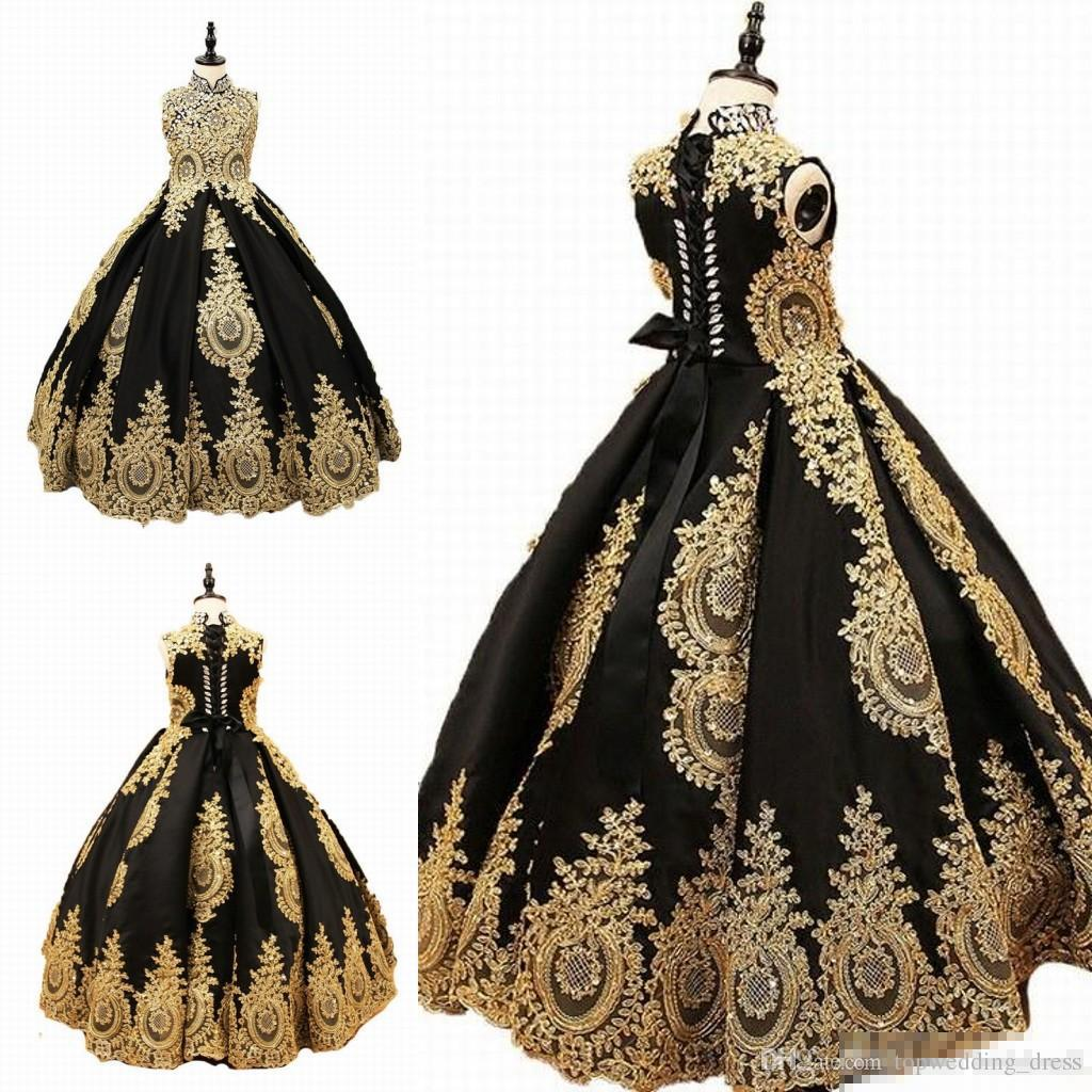 High Collar Golden Appliques Girls Pageant Dresses Black Tulle Flower Girl Dress For Wedding Girl's Floor Length Child Party Birthday Dress