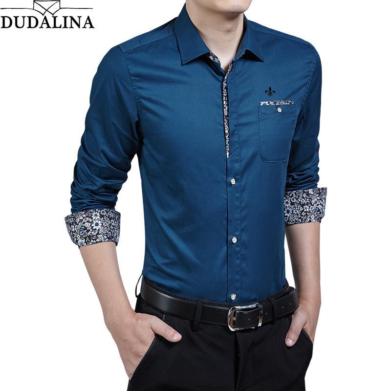 Compre DUDALINA Nova Marca De Moda Homens Roupas Slim Fit Camisas Dos  Homens Casuais Camisa De Manga Comprida Impresso Slim Fit Masculino Social  Vestido De ... 6ce7cfa0992c9