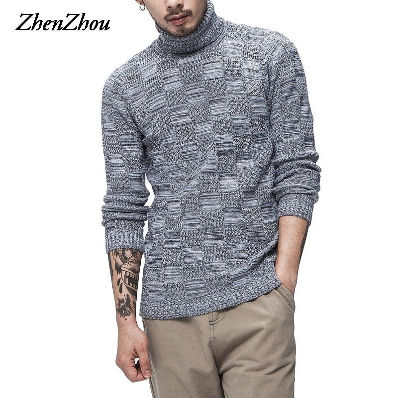 Casual Solid Pullover Men Sweaters Winter Men Turtleneck Thick