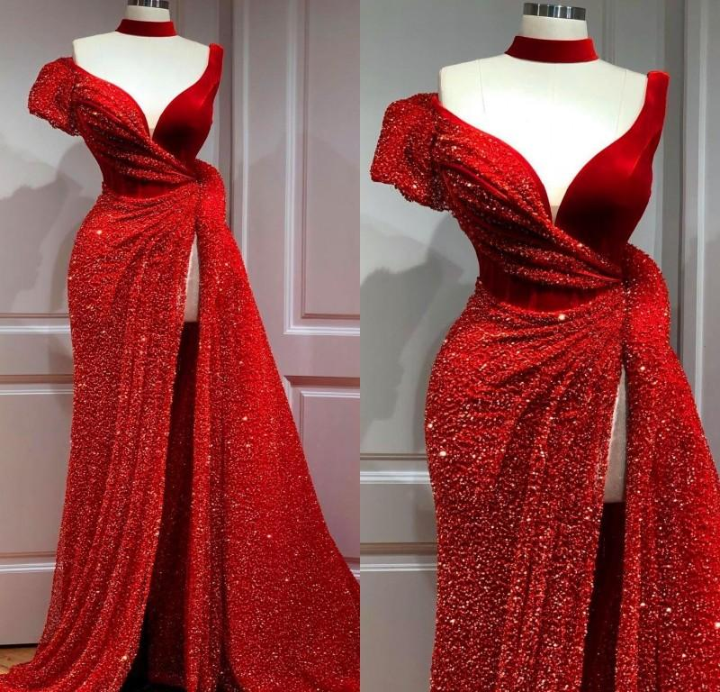 2020 Arabic Aso Ebi Red Stylish Sexy Evening Dresses Mermaid Sequined Prom Dresses High Split Formal Party Second Reception Gowns