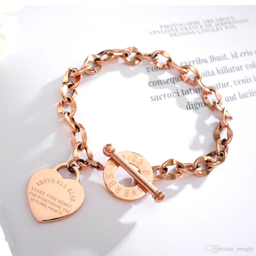 Hot Fashion Love Heart-shaped Titanium Stainless Steel Rose Gold Link Bracelet Valentines Day Silver Love Bracelet For Couples Gift GS967