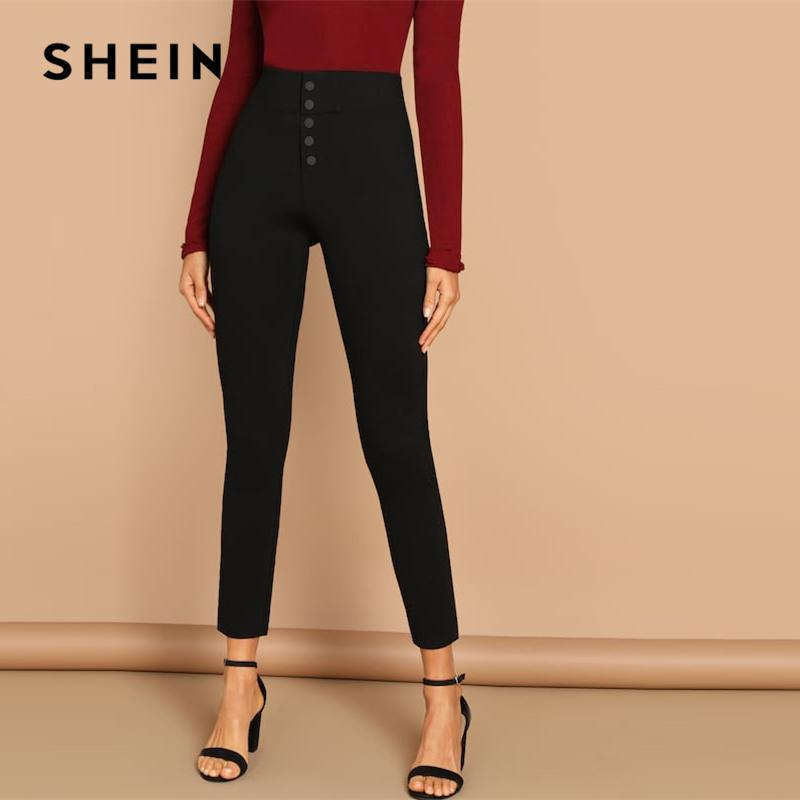 74f73a208c812 2019 SHEIN Black Buttoned Fly Skinny Plain Pants Highstreet Solid ...