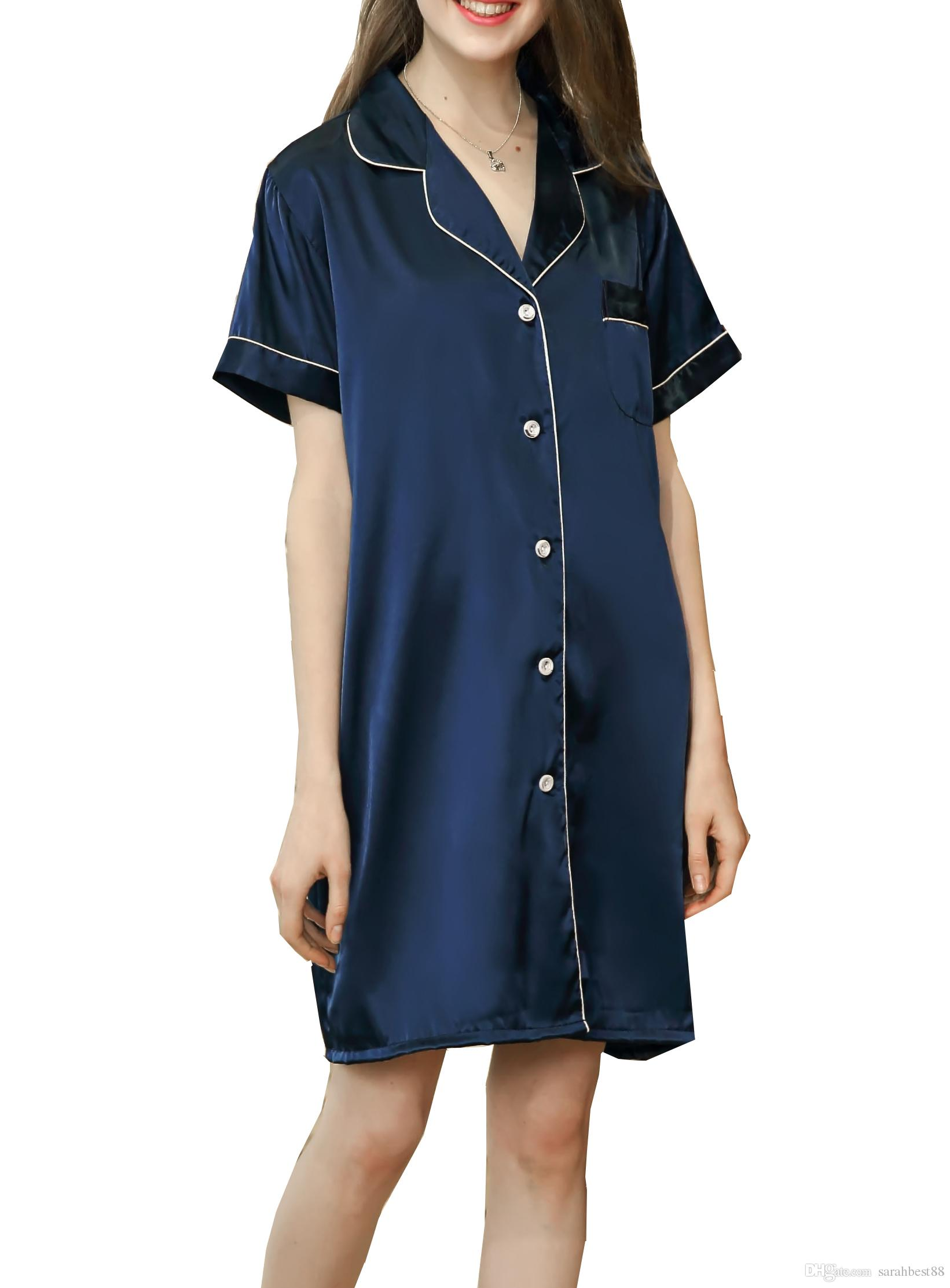 Women Girls Nightshirt Elegant V Neck Short Sleeves Button Front ... ac2026122