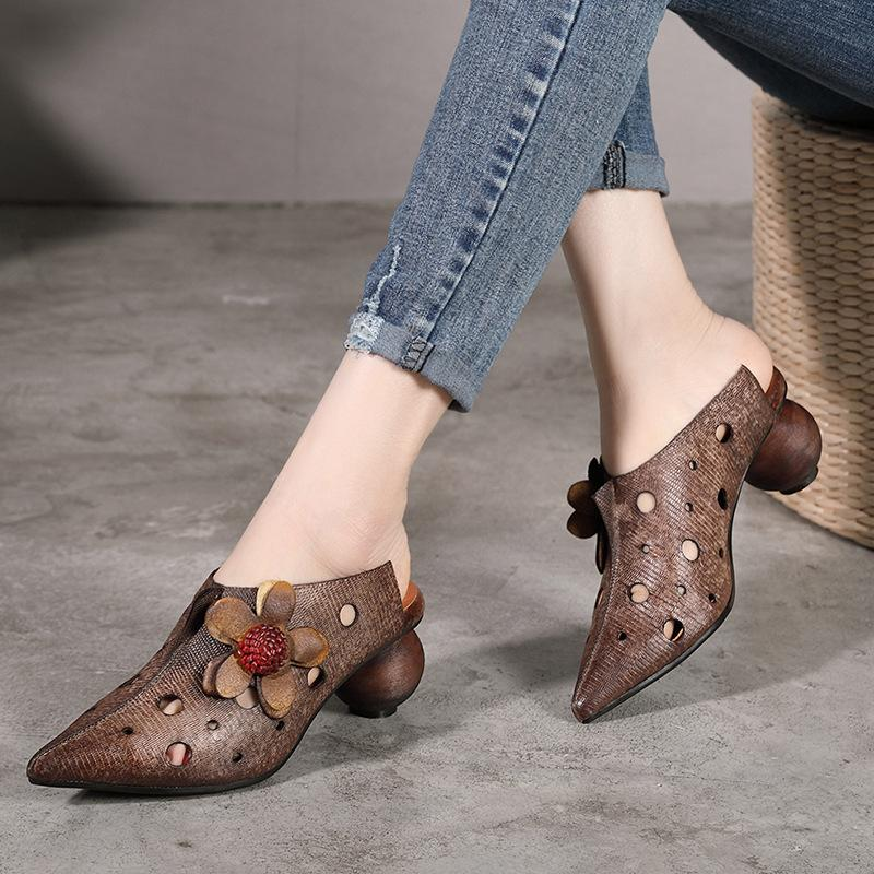 60af10e85e8 women's sandals summer shoes platform ootwear wedge Women Mules Leather 5  CM High Heels Pointed Toe Slippers Women Spring Shoes