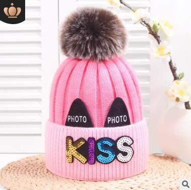 b6cd86f56ed KISS Letters Cute Beanies Girls Children Toddler Kids Baby Warm Winter Wool  Knit Beanie Solid Fur Pom Pom Bobble Hat Cap Winter Warm Hat Custom Beanies  ...