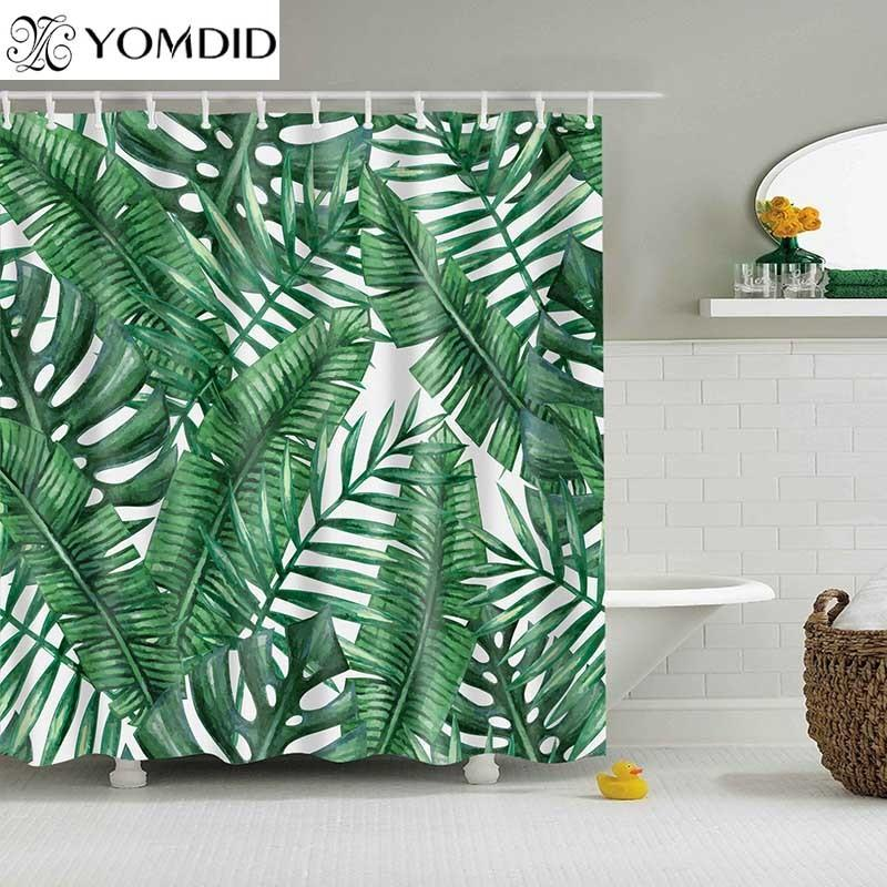 2019 Green Tropical Plants Shower Curtain Bathroom Waterproof Polyester Leaves Printing Curtains For C18112201 From
