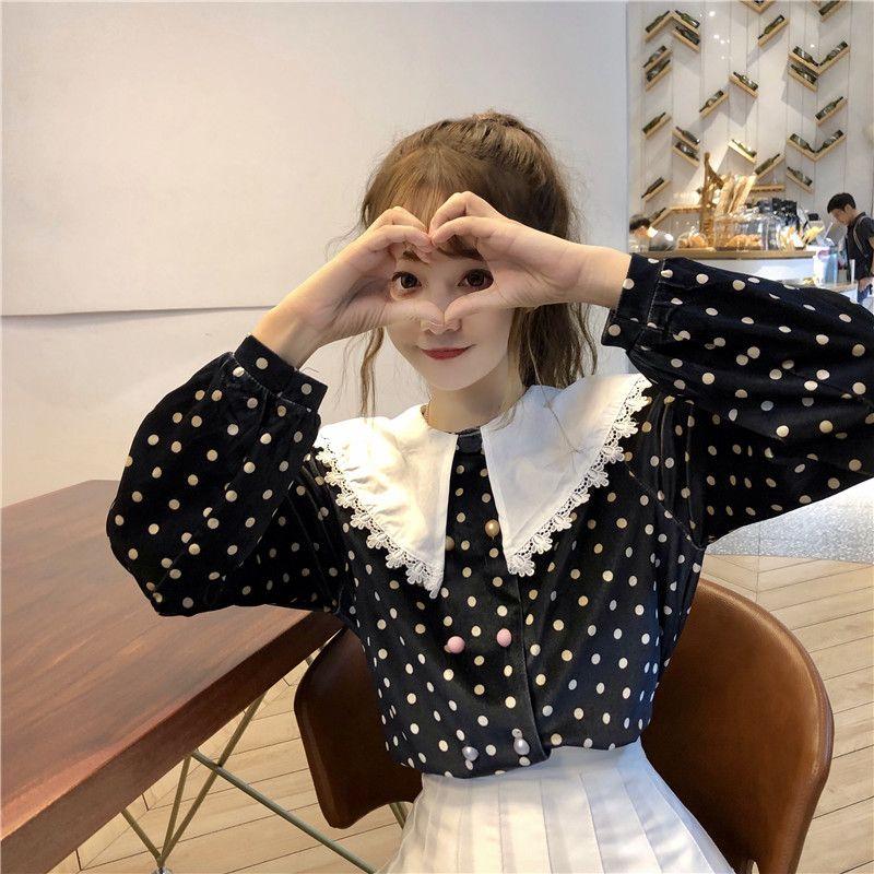 3a29807a8 KYQIAO dulce lolita camisa mori niñas otoño invierno estilo japonés fresco  cuello descubierta lunares blusa feminina roupas