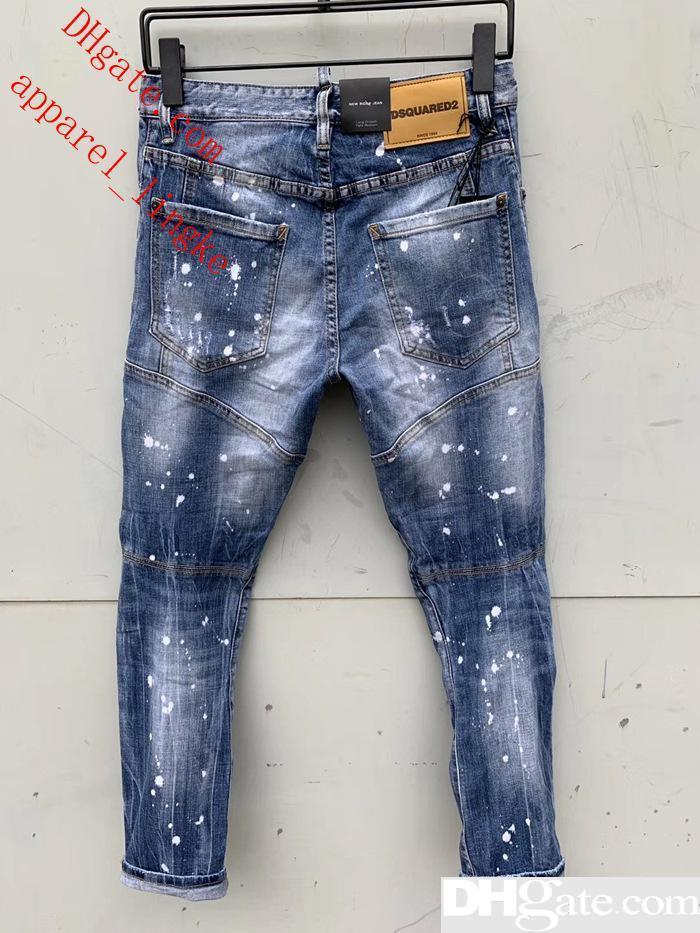 Top Quality Designer Brand D2 Men Jeans Embroidery Pants Fashion Holes Trousers Luxury Denim Italy Size 44-54