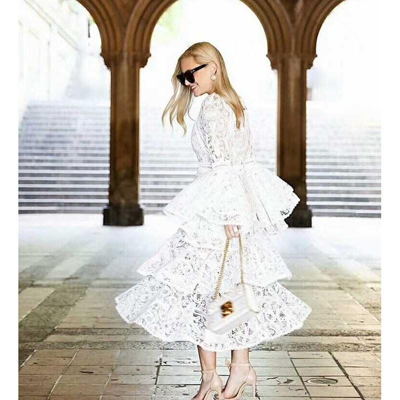 d23218e747b 2018 HIGH QUALITY New Fashion 2018 Designer Runway Dress Women S Flare  Sleeve Lace Cascading Ruffle Dress From Zhusa