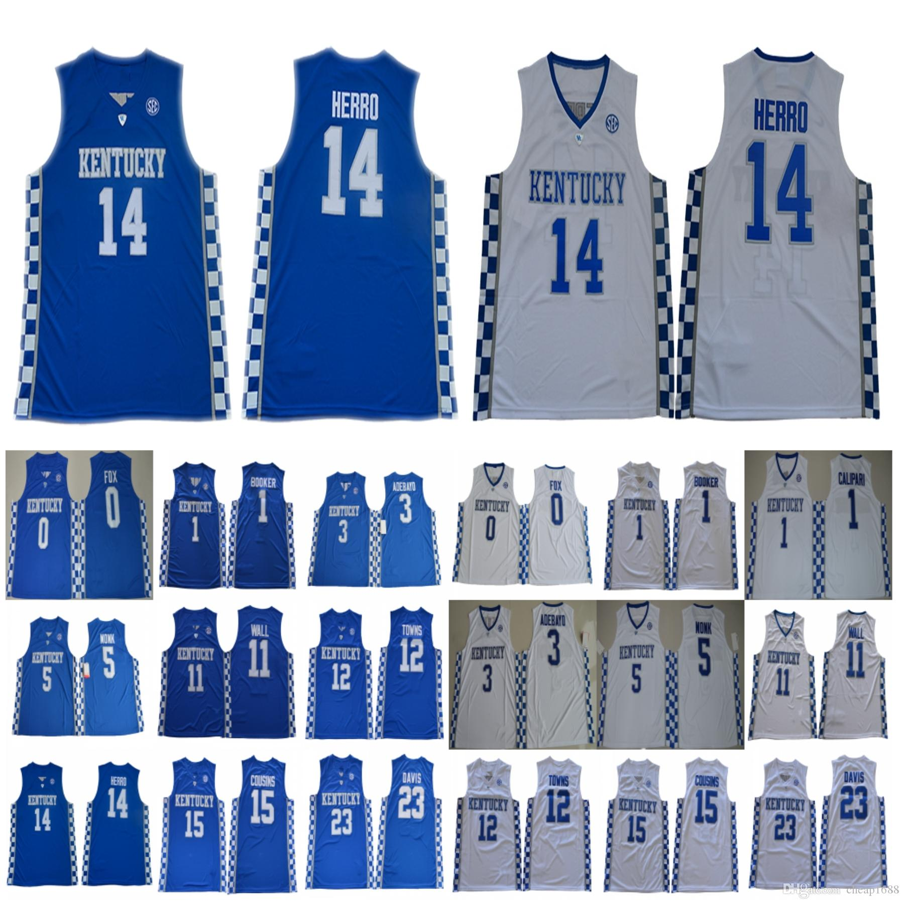 low priced 4345c ecdc8 2019 NCAA Kentucky Wildcats Tyler Herro Jersey  14 Booker Wall Towns  Cousins Davis Devin John Karl Anthony DeMarcus Anthony Fox Monk Jerseys  From Cheap1688, ...