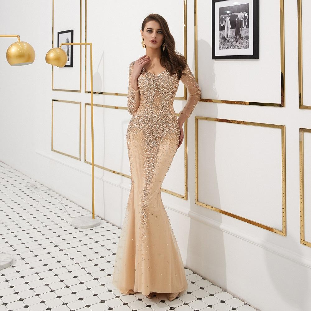 Champagne Gold Trumpet Long Sweep Prom Dresses Long Sleeve 2019 Scoop Neck Brilliant Sequins Beaded Sheer Back Evening Gowns Formal Party
