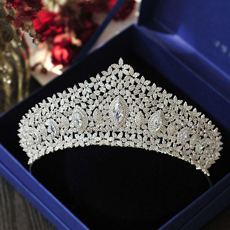 49ac4a025e Micro Paved Full Cubic Zircon Tiara Luxury Zirconia Crown Wedding Hair  Accessories Bride Large CZ Coroa Novia Diadam WIGO1200 C18112001