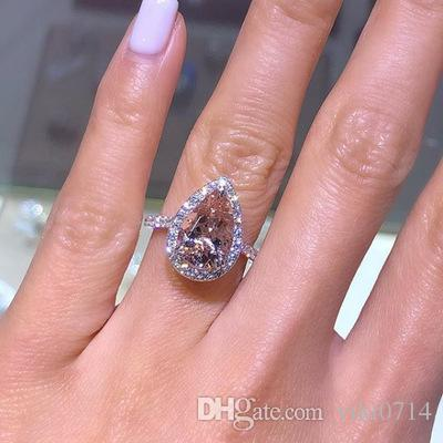 20191109 Rose gold inlaid pink crystal water drop pear shaped engagement party ring