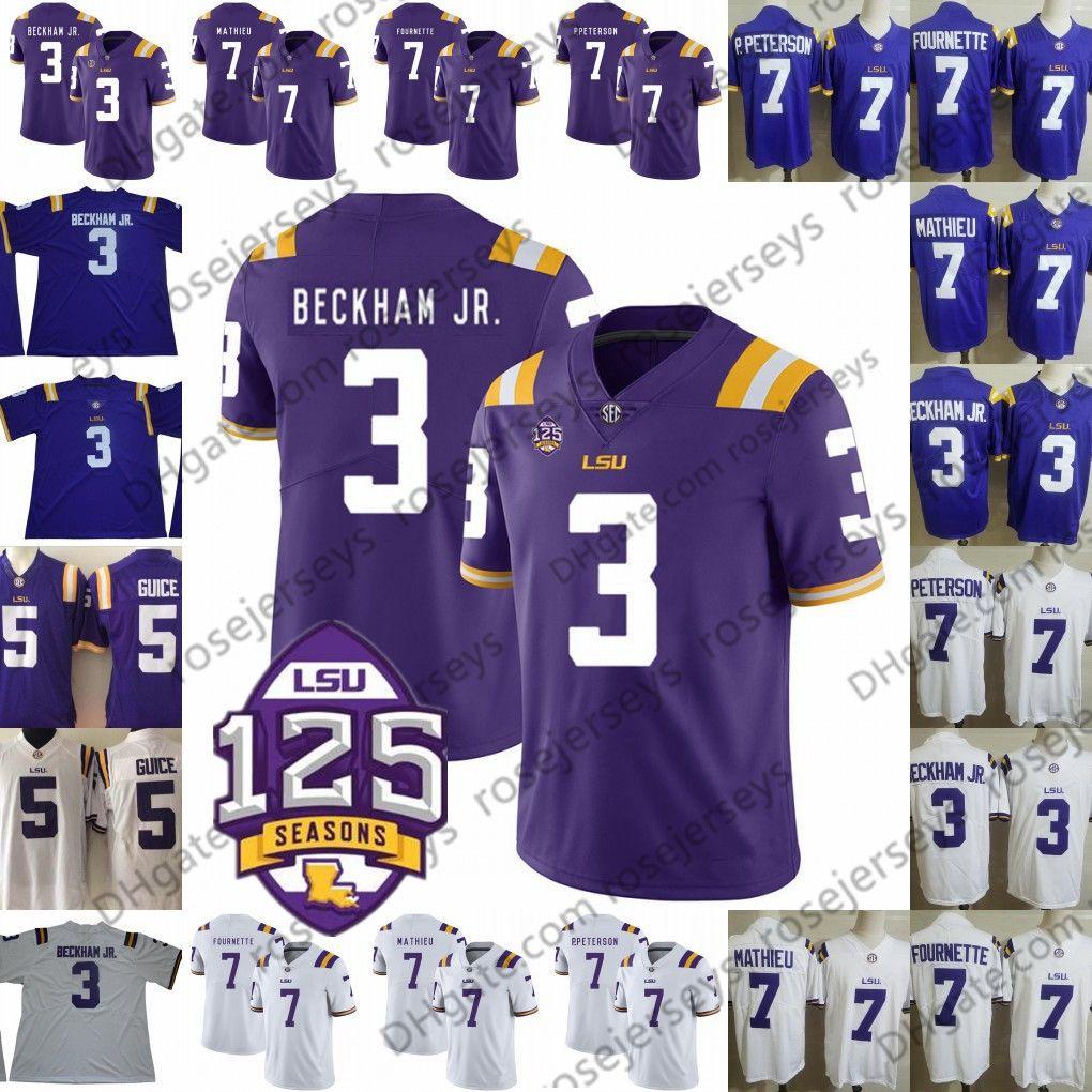new style fe6bc c9e1e 2019 LSU Tigers #3 Odell Beckham Jr. Hot Sell Jersey 7 Leonard Fournette  Tyrann Mathieu Patrick Peterson 5 Derrius Guice Purple White 125th