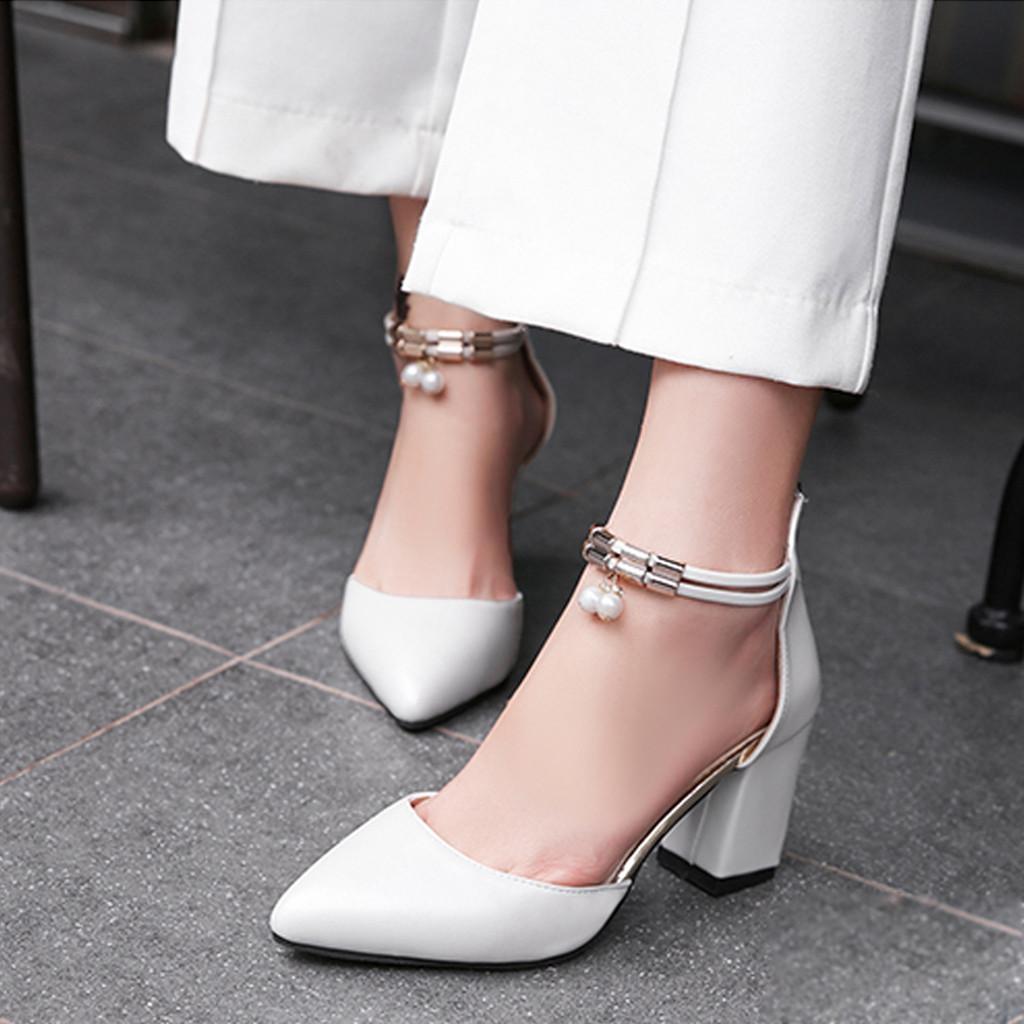 Estrecha Zapatos Cuadrado Señora De Sólido Oficina Elegante Muqgew Mujer Correa Tacón Hebilla Niña Moda Solo Para Vestir Punta Nueva UVSGMpzq