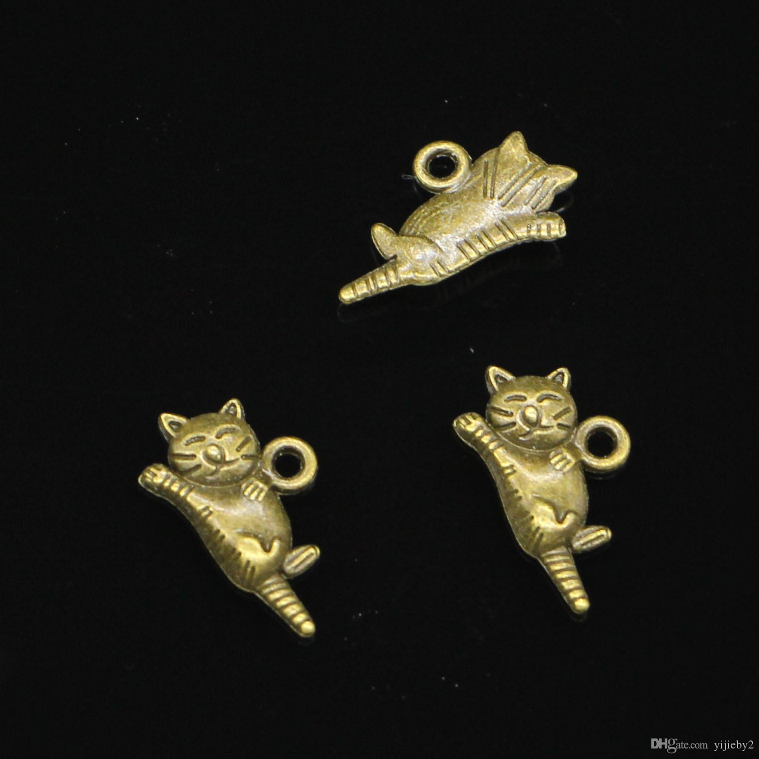 182pcs Charms lazy cat Antique Bronze Plated Pendants Fit Jewelry Making Findings Accessories 20*12mm
