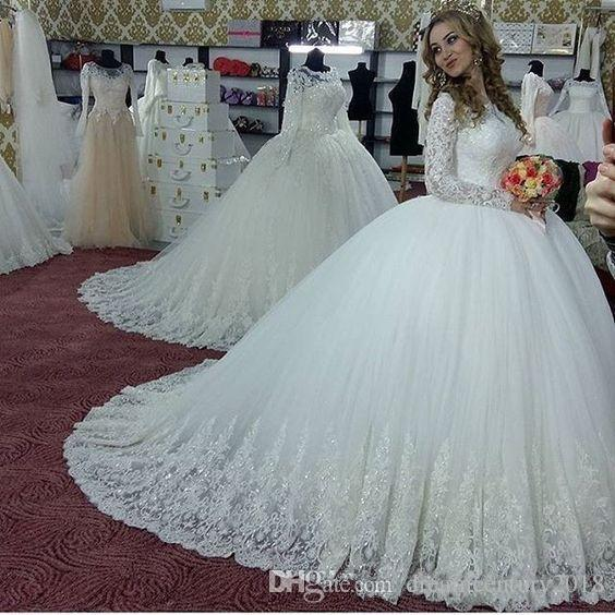 Modest Ball Gown Wedding Dresses With Glitter Appliques Long Sleeves