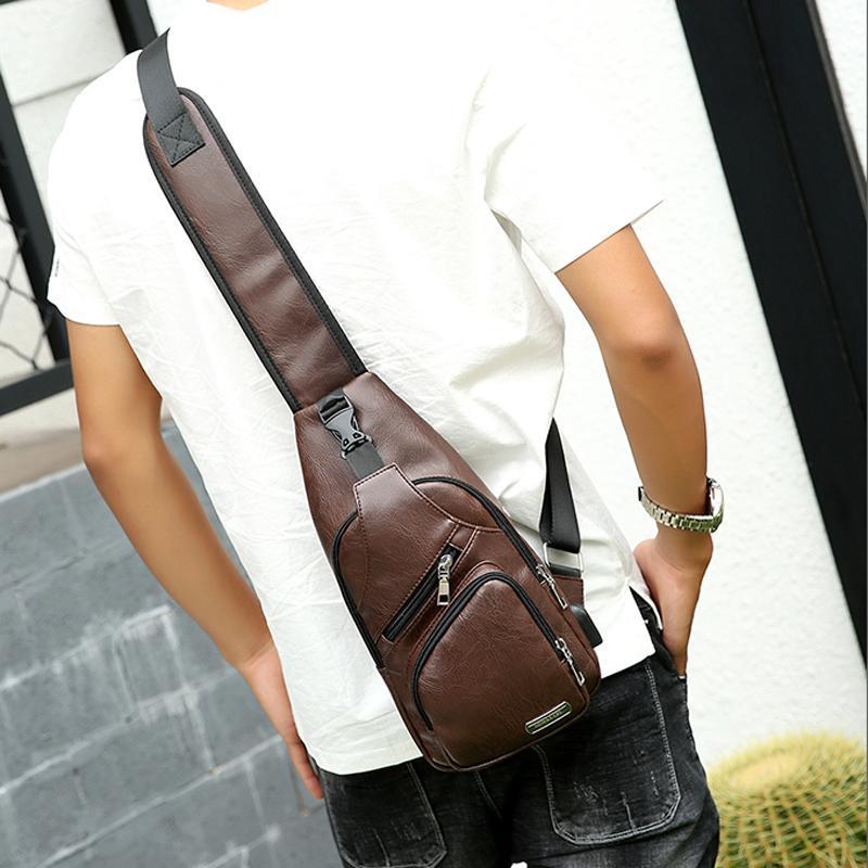 2019 Men Vintage Pu Leather Leisure Travel Bag Single Shoulder Messenger Bag  Man Brand Small Male Shoulder Bag Chest Back Bags Messenger Bags Crossbody  Bags ... 213bf30607af7