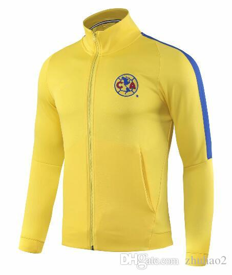 5ffde9cb8b9 2019 2019 Jacket Club America 2019 Mexico LIGA MX Club America Jacket  Soccer Tracksuit Club A.PULIDO Football Sports Wear Yellow Training Suit  From Zhuhao2, ...