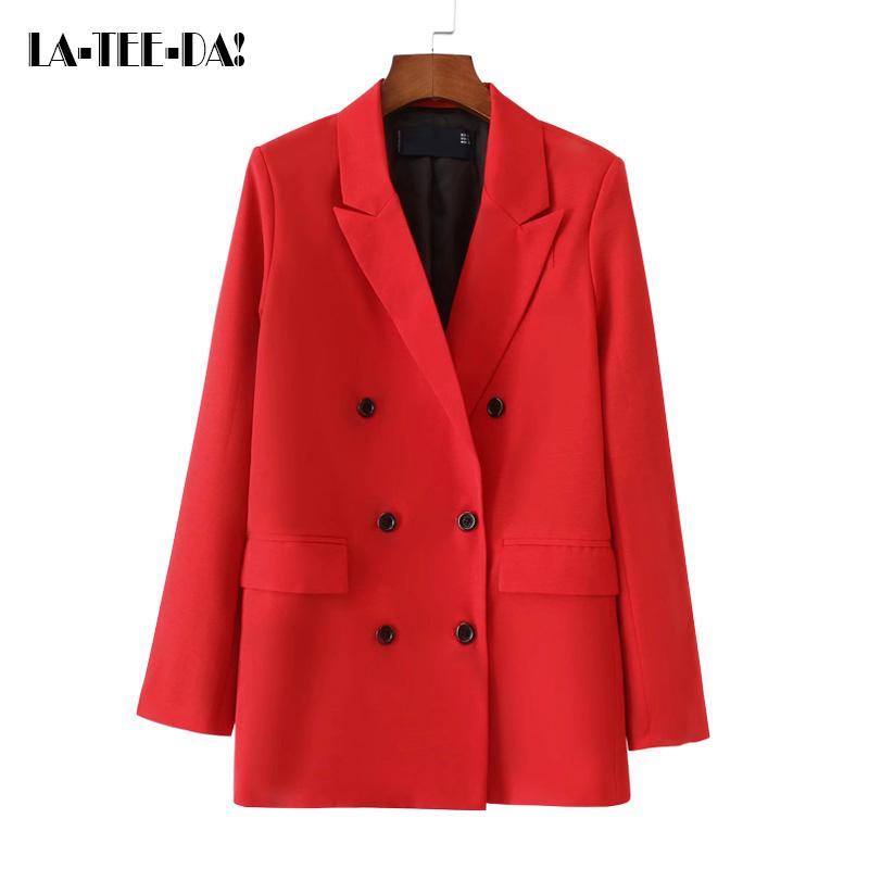 LTD119067 Solid Red Coat Women Solid Outerwear Lady Fashion OL Classic Collar Double Breasted Long Basic Outerswear Y190829
