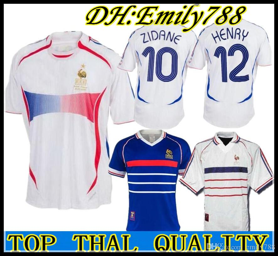 competitive price 797cd 862b4 2006 Retro Soccer Jersey ZIDANE Henry Trezeguet Vieira Ribery 06 world cup  France Vintage 1998 FRANCES RETRO Football Shirts Maillot de Foot