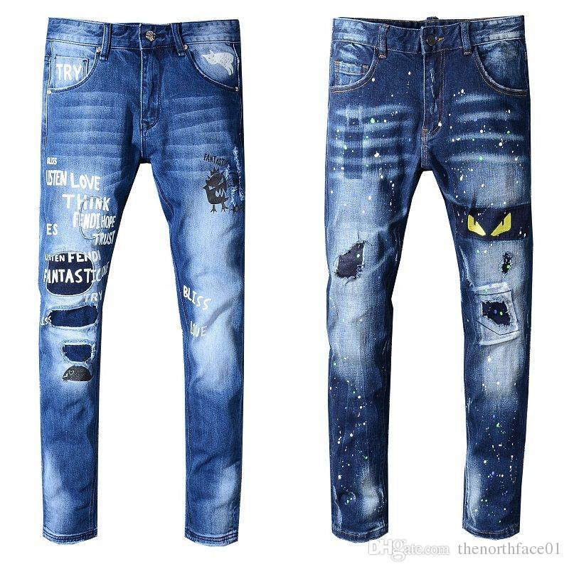 04ef860bf6 Compre Pantalones Vaqueros Para Hombre A Estrenar Pantalones Vaqueros  Desgastados Y Desgastados Slim Fit Motocicleta Biker Denim Jeans 2019  Pantalones De ...