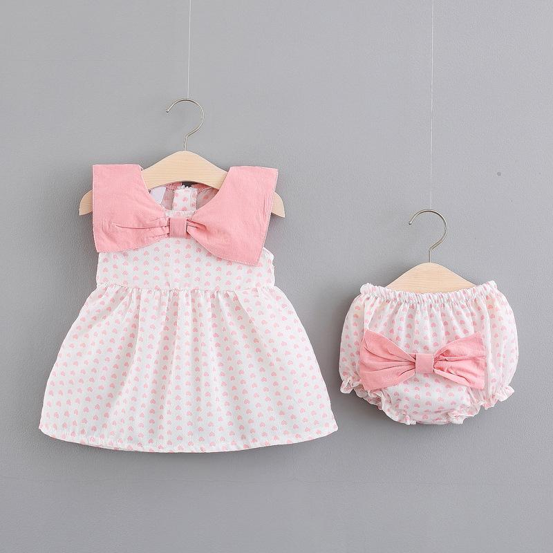 Summer Baby Girls Sleeveless Loving Heart Doll Collar Princess Party Pleated Kids Tutu Dress + Bow Pp Shorts Girls 2pcs Clothes J190506