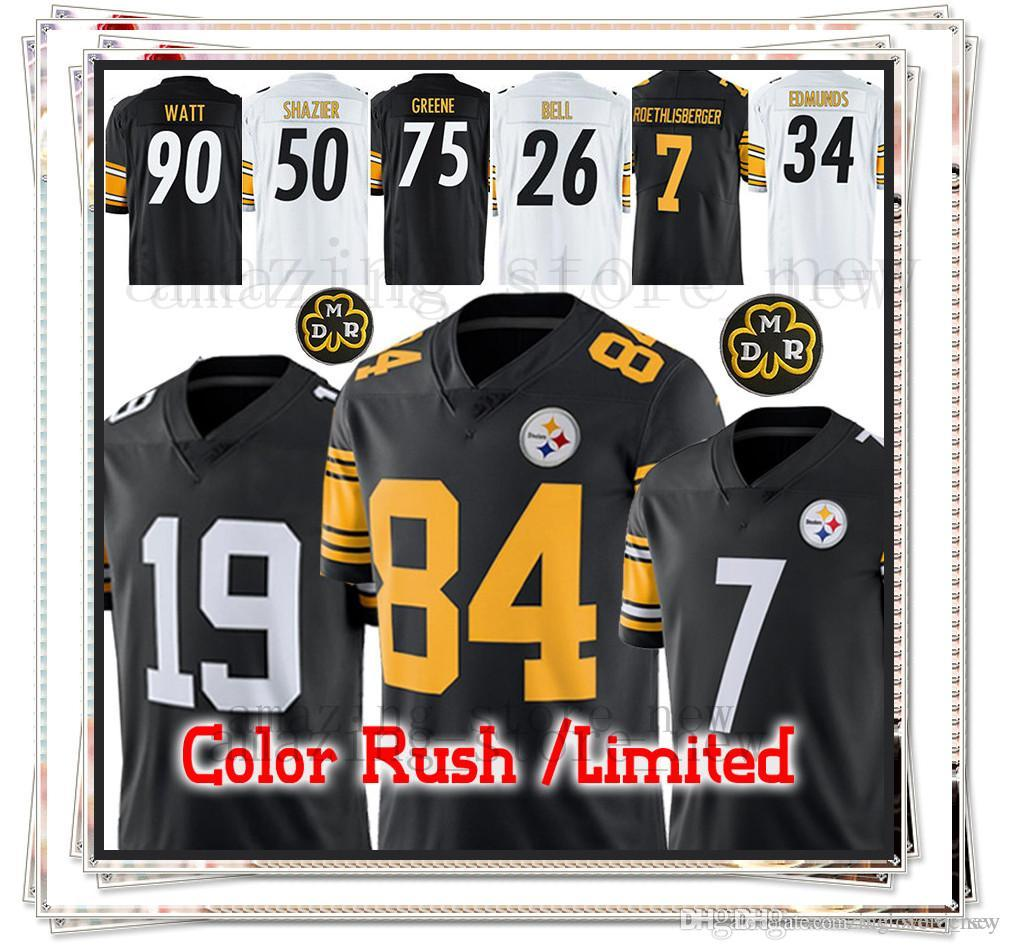 buy online b7b68 0a318 Brown Pittsburgh Steeler jerseys 84 Antonio Brown 19 Juju Smith-Schuster  jerseys 30 James Conner 50 Ryan Shazier 34 Terrell Edmunds