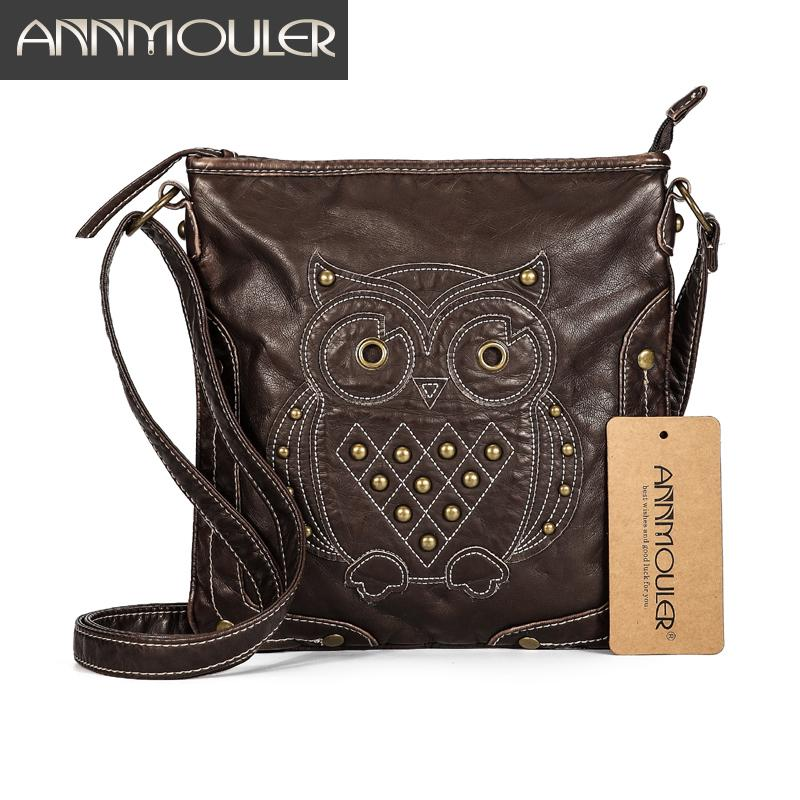 713074502 Annmouler Brand Women Shoulder Soft Pu Leather Crossbody Cartoon Owl ...
