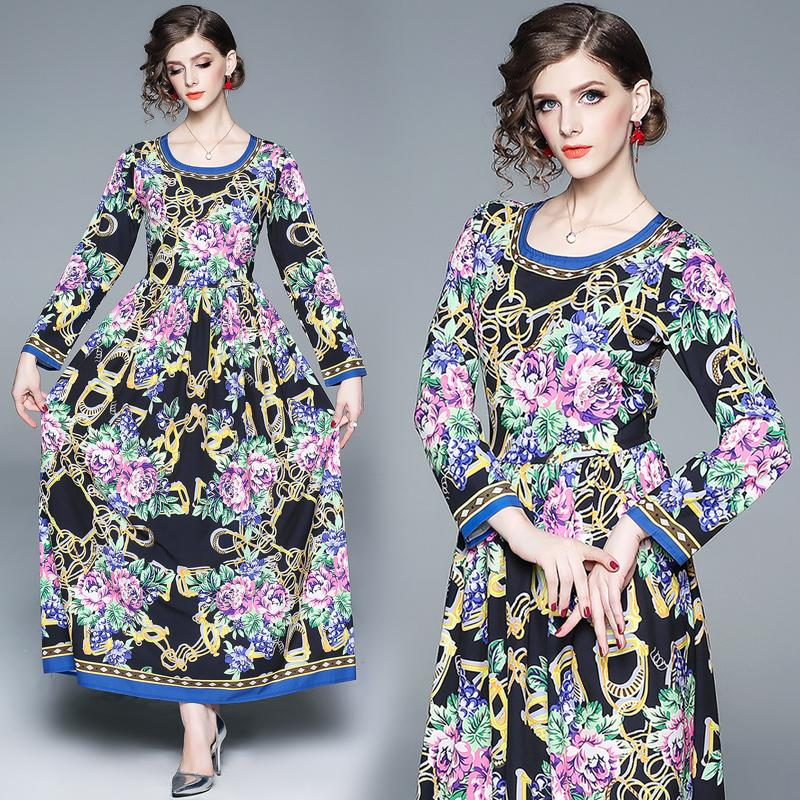 a9fe95451 2019 Women Dress 2019 New Design Floral Print Long Sleeve Maxi Party Wedding  Guest Engagement Prom Dresses From Clothes_zone, $38.2   DHgate.Com