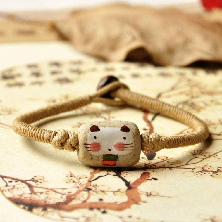 Woven Ceramic Fashion Bracelet Hand-painted Cat Smiling Face Diy Woven Bracelet Clothing with Chains Ceramic Bracelet for Womens