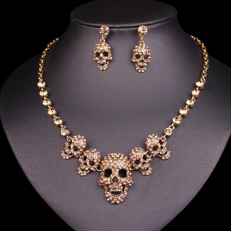dd4ab4547523 Compre Joyas Ashion Nuevo Collar De Esqueleto Pendientes Conjuntos ...