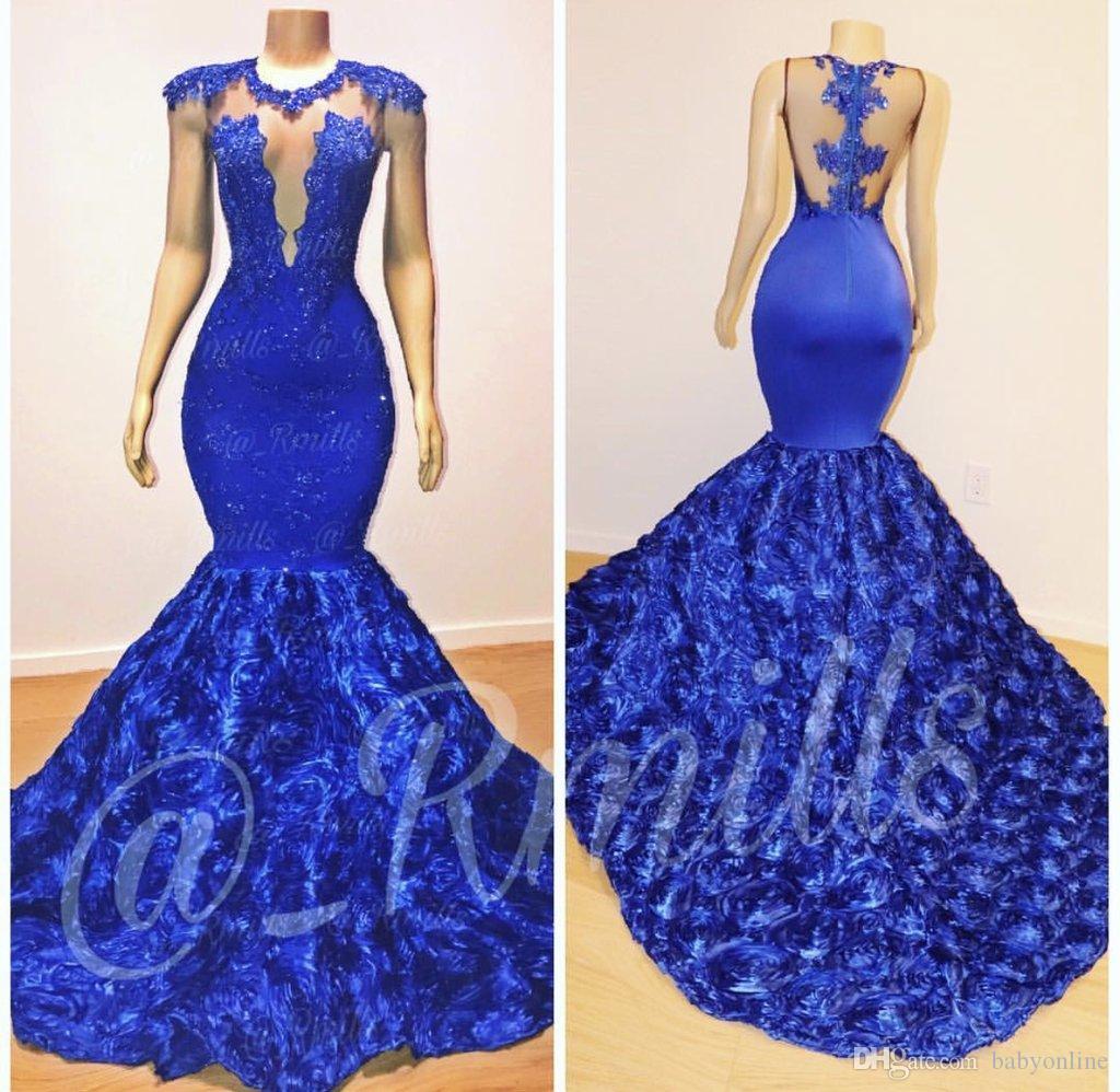 2019 New Royal Blue Cap Sleeves Lace Mermaid Long Prom Dresses Tulle Lace  Appliques 3D Floral Floor Length Evening Gowns Vestidos De Festa  Quinceanera ... d406e23519ce