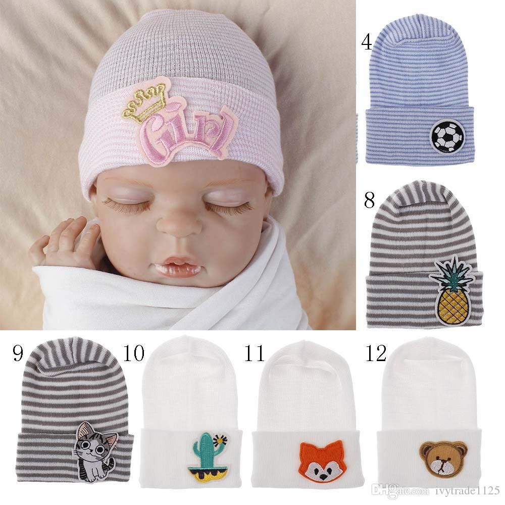 16 Colors Newborn Kids Winter Hat Knitted Beanie Crochet With Cartoon Flamingo Pineapple Fox Embroidery Hat New born Hat Cap