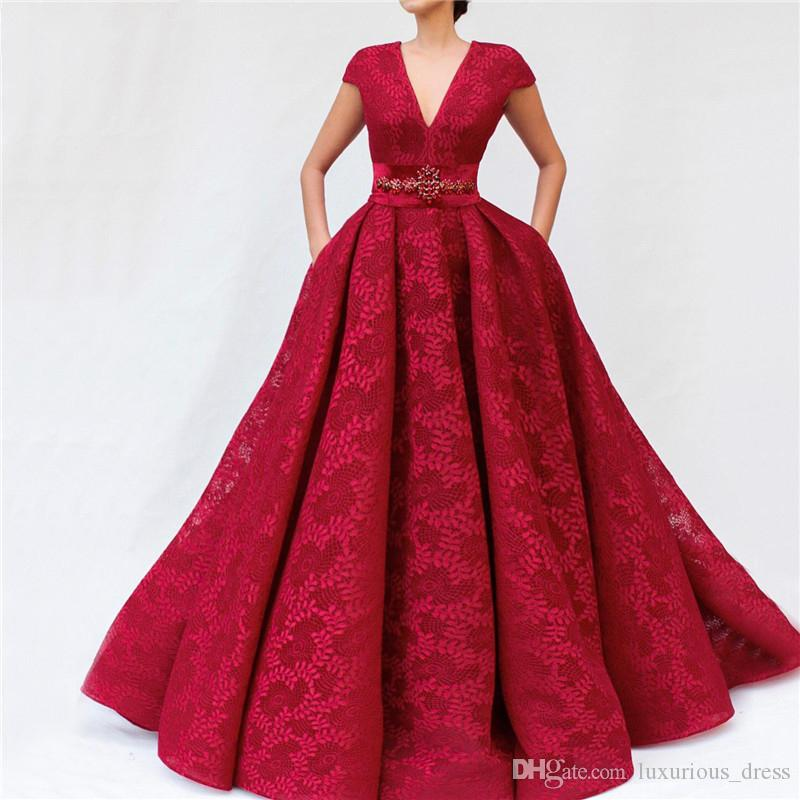 Latest Design Wine Red Lace Prom Dresses 2019 V-Neck Sashes Diamond Sexy A-Line Evening Gowns Vintage Arabian Prom Dress robes de soirée