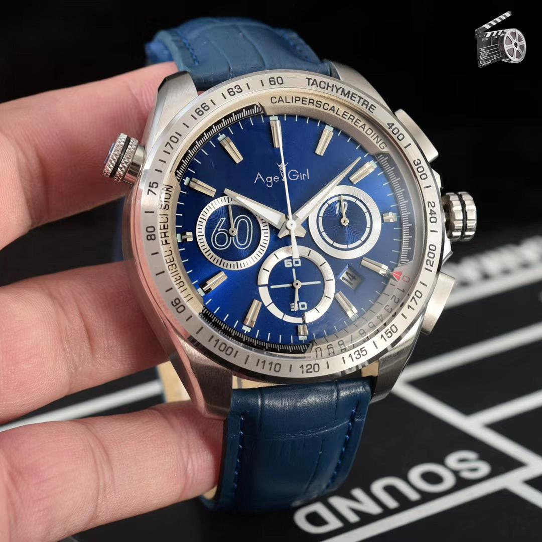 359c9b2e0ff2 Luxury Brand New Men Chronograph Silver Red Blue Black White Orange Leather  Stainless Steel Watch Luminous Sport Stopwatch Aaa+ Watches Discount  Discount ...