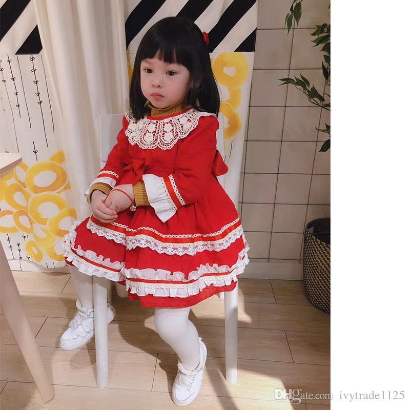 cb38bcfaa3 Compre Vestido De Niña De Diseñador Vestido De Estilo Español Boutique De  Manga Larga Color Rojo Con Encaje Y Lazo Vestido De Niña De Diseño Vestido  De Ropa ...